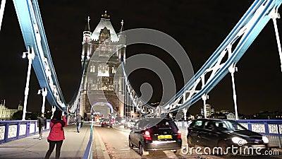 London Bridge. Movie with london bridge by night stock footage
