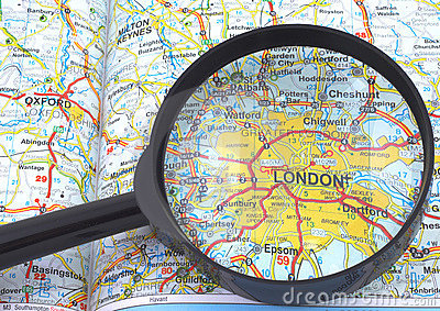 London - Britain map under loupe