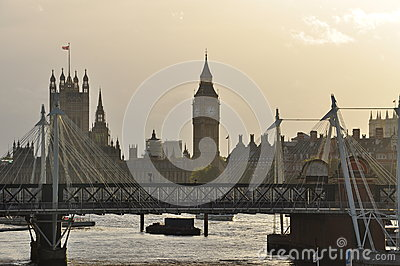 London, Britain. River Thames and Houses of Parliament