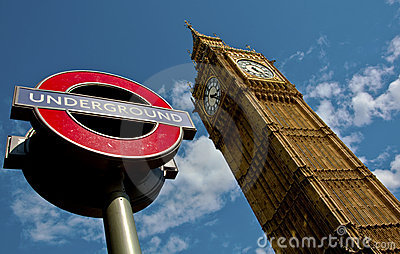 London central Big Ben & Underground Editorial Stock Image