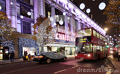 London Christmas Lights Editorial Photo