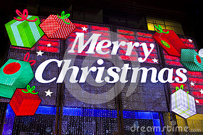 London Christmas Lights on Oxford Street Editorial Stock Image