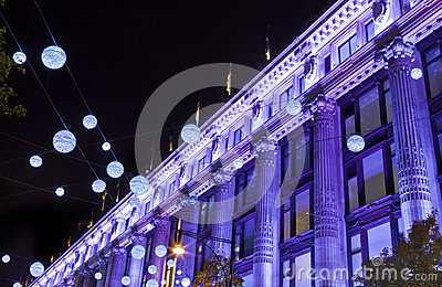 London Christmas Lights on Oxford Street Editorial Photography