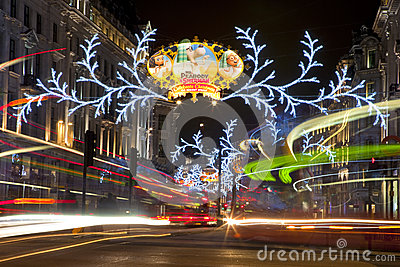 London Christmas Lights on Regent Street Editorial Stock Image