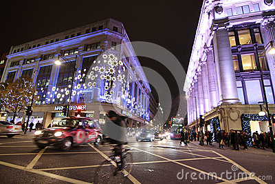 London Christmas street lights Editorial Stock Image