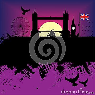 London city grunge illustration