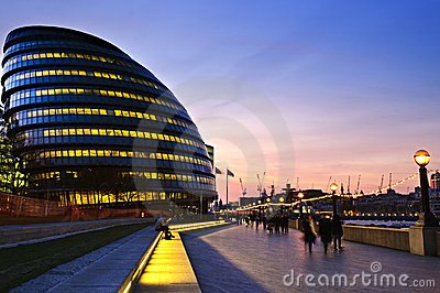 London city hall at night