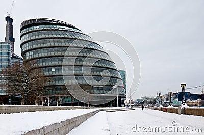 London city hall in snow