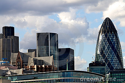 The London city skyline with the Gherkin tower Editorial Image