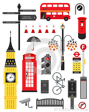 Free London City Street Icon Set Stock Image - 25086821