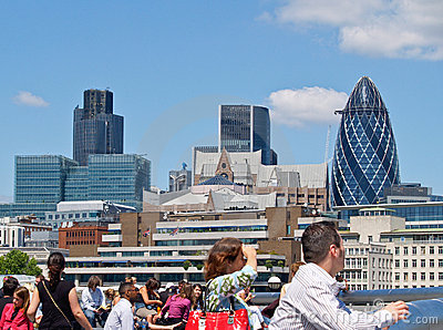 London commercial skyline across Thames. Editorial Image
