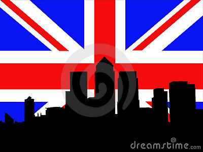 London Docklands and flag