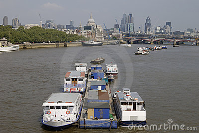 London. England. River Thames and City.