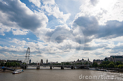 London eye and architectures along the thames rive Editorial Image