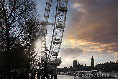 London eye with Big Ben Editorial Image