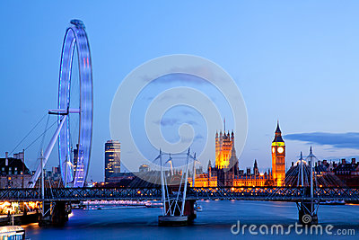 London Eye with Big ben Editorial Stock Photo