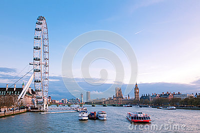 London Eye with Big Ben at dusk Editorial Photography