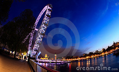 The London Eye and Big Ben - a fisheye view Editorial Photo
