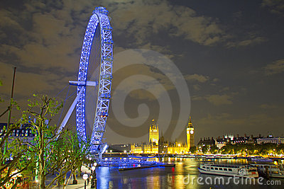 London eye, Big Ben and Houses of Parliament Editorial Photo