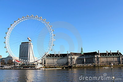 London Eye Blue Sky Editorial Stock Photo