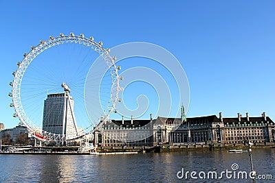 London Eye Blue Sky Editorial Stock Photo