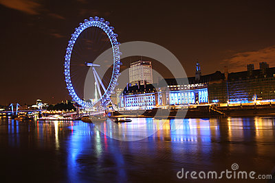 London Eye and County Hall at night Editorial Image
