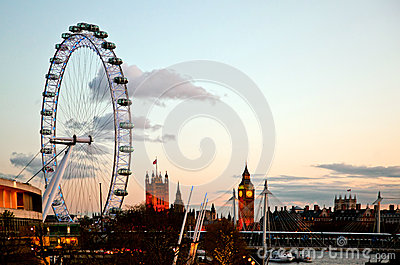 London Eye at Dusk Editorial Stock Photo