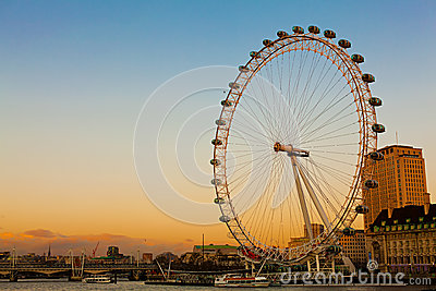 London Eye at Dusk Editorial Photography