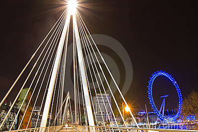 London Eye and Golden Jubilee Bridge Editorial Stock Image