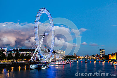 London Eye and Huge Cloud on London Cityscape Editorial Stock Image