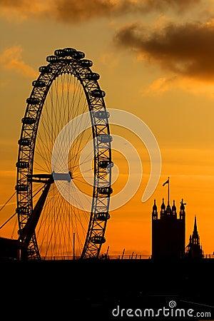 London Eye in London Editorial Photo