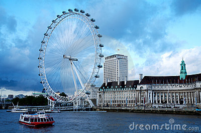 London Eye in London city and Thames river Editorial Photography