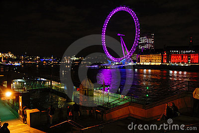 London Eye at night Editorial Stock Photo