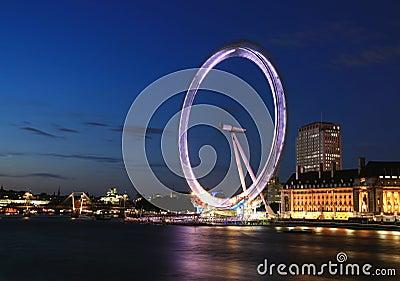 London Eye at night Editorial Stock Image