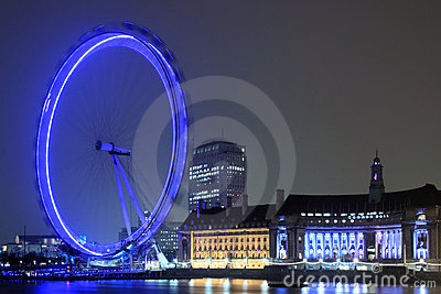 London Eye at night Editorial Stock Image