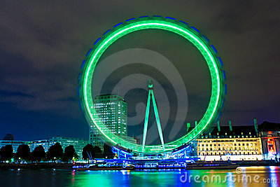 The London Eye at night Editorial Image
