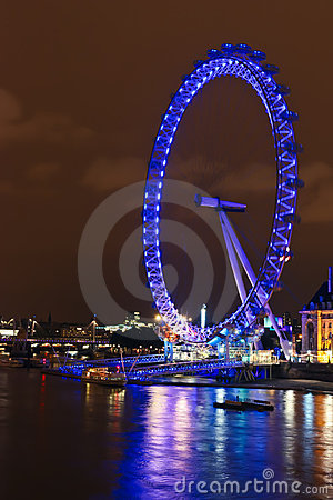 London Eye at Night Editorial Photo
