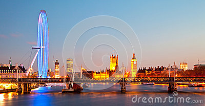 London Eye Panorama Editorial Stock Image
