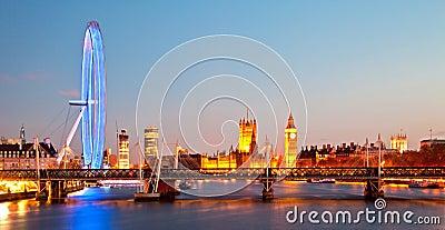 London Eye Panorama Editorial Stock Image