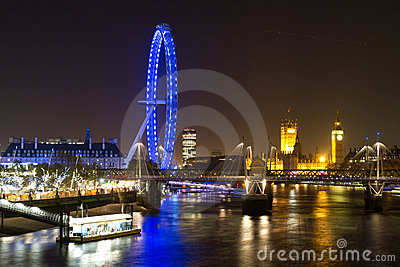 London Eye and Parliament Building Editorial Stock Photo