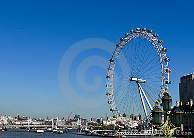 The London Eye and River Thames Editorial Stock Photo