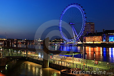 London eye,River Thames at night Editorial Image