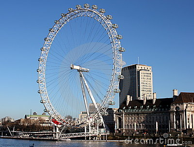 London Eye Summers Day Editorial Stock Image