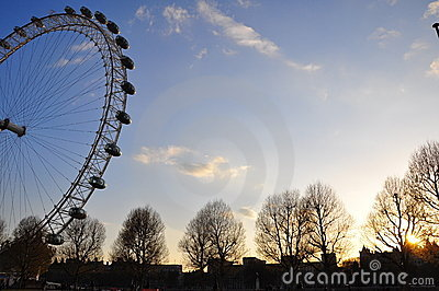 London Eye at sunset Editorial Stock Image