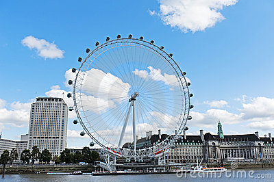 The London Eye and the Thames River Editorial Stock Image