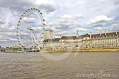 The London Eye and the Thames river Editorial Stock Photo