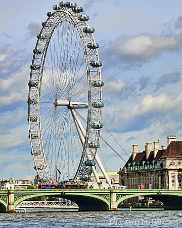 London eye and Westminster bridge Editorial Photo