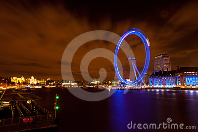London Eye from Westminster Bridge Editorial Photography