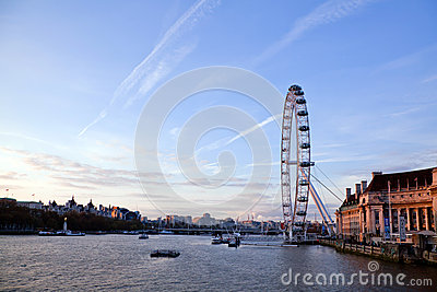 London Eye from Westminster bridge Editorial Stock Photo
