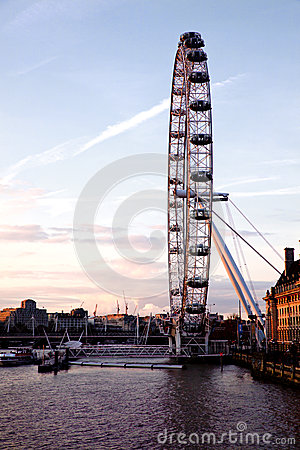 London Eye from Westminster bridge Editorial Photo
